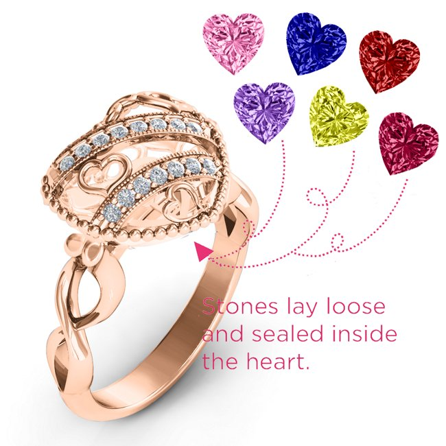 Caged Hearts Accents Stones Ring with 2-6 Stones