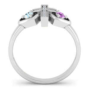 Dual Birthstone Cross Promise Ring