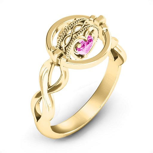 The Infinity Twist 360 Birthstone Ring