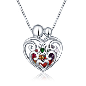 Swirls of Glory Heart Cage Pendant (Up to 8 Gemstones)