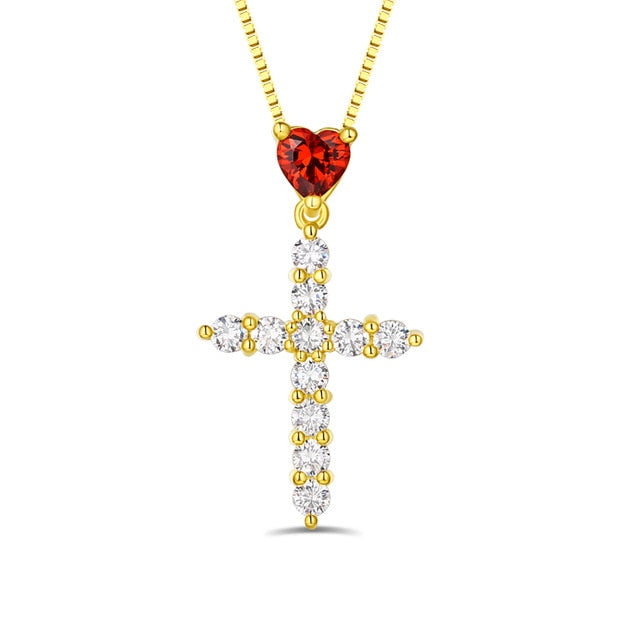 Cross My Heart Birthstone Pendant