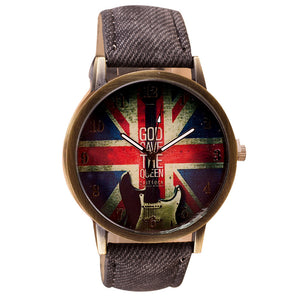 Rockin' British Leather Band Analog Quartz Watch