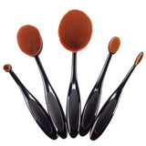 Black Makeup Brushes Oval Make Up Brushes 5 Pieces Professional Oval Shape