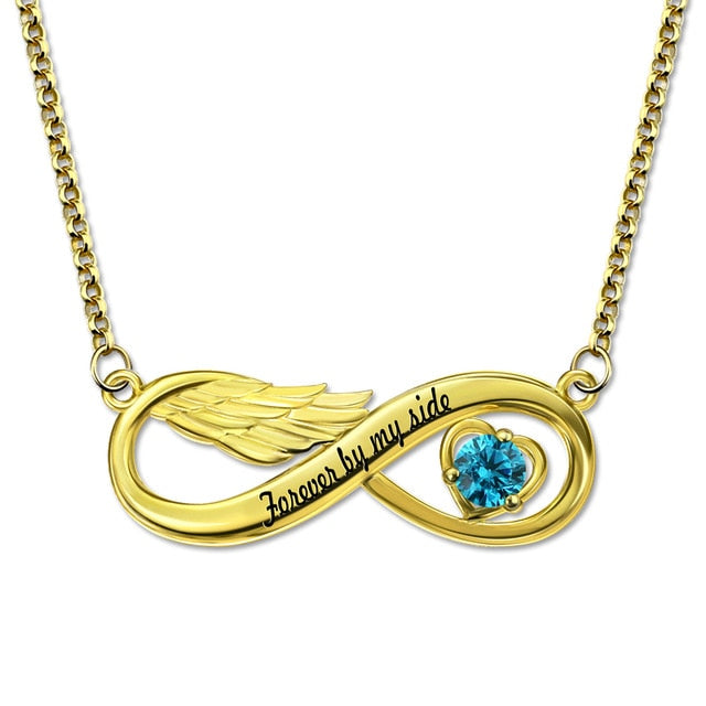 Infinity Angel Wing Necklace with Birthstone Necklace
