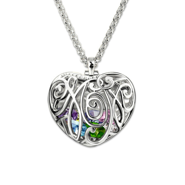 Cursive Mom Encased Necklace (Up to 15 Birthstones)
