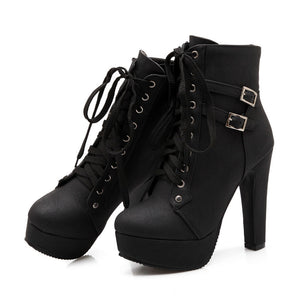 Eleanor Ankle Boots lace-up with leather double buckle
