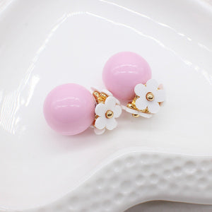Pearl flower Earrings Double side Stud Earring