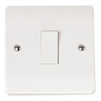 Click Mode Plate Switch White Moulded 1 Gang 2 Way 10AX - Greendays Lighting Ltd