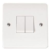 Click Mode Plate Switch White Moulded 2 Gang 2 Way 10AX - Greendays Lighting Ltd