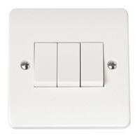 Click Mode Plate Switch White Moulded 3 Gang 2 Way 10AX - Greendays Lighting Ltd