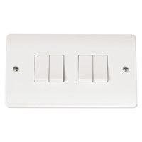 Click Mode Plate Switch White Moulded 4 Gang 2 Way 10AX - Greendays Lighting Ltd