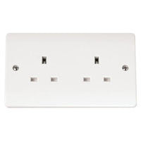 Click Mode Double Plug Socket Unswitched 13 Amp Twin Earth - Greendays Lighting Ltd