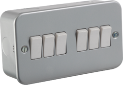 Knightsbridge Metal Clad 10A 6G 2 way switch - Greendays Lighting Ltd