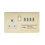 Screwless Range 13A switched socket and Quad USB charger - Greendays Lighting Ltd
