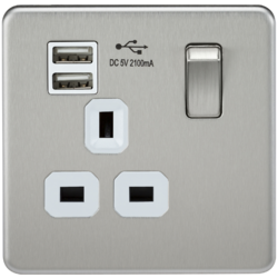 SCREWLESS 13A SWITCHED SOCKET WITH DUAL USB CHARGER - Greendays Lighting Ltd