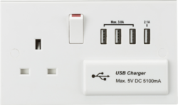 13A Switched Socket with Quad USB Charger 5V DC 5.1A - Greendays Lighting Ltd