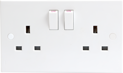 13A 2G DP Switched Socket - 9.5mm