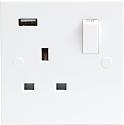 13A 1G DP Switched Socket with USB Charger Port 5V DC 1A