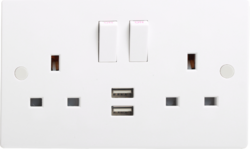 13A 2G Double Switched Socket with Dual USB Charger 5V DC 2A (2 x 1000mA) - Greendays Lighting Ltd