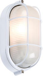 230V IP54 60W White Oval Bulkhead with Wire Guard and Glass Diffuser