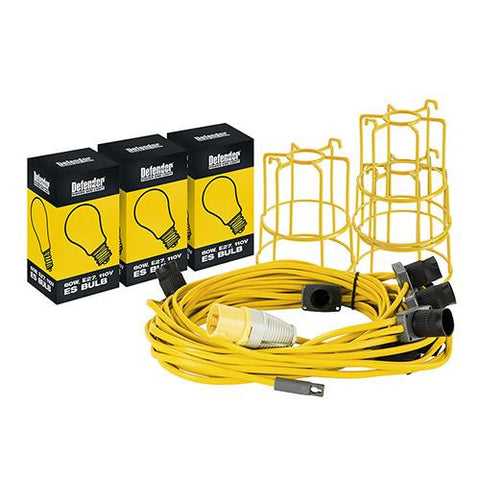Defender E89820  GLS Festoon Kit 22M With 10 Holders BC Fittings 110V - Greendays Lighting Ltd