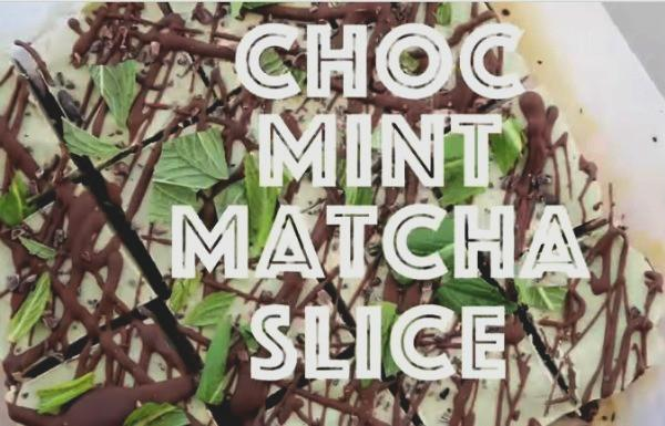 Vegan Raw Matcha Chocolate Mint Slices
