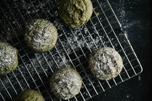 Soft and aromatic Matcha Green Tea Cookies dusted with powdered sugar is the ultimate best cookie recipe