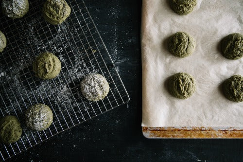 Toasty fresly baked Matcha Green Tea Cookies by Grace Jones