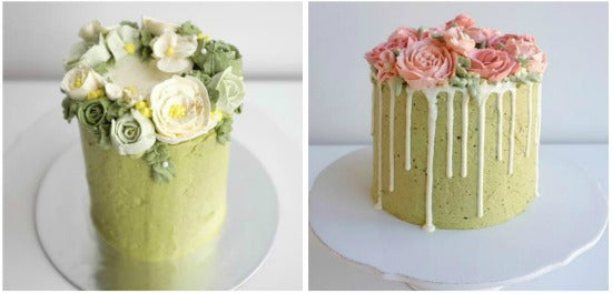 Gorgeous Matcha Rose Garden Cake with matcha cake coated with matcha swiss meringue buttercream and decorated with buttercream roses
