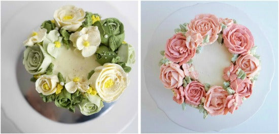 Beautiful and artistic matcha cake decorations with swiss meringue buttercream roses