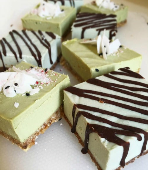 Vegan Raw Matcha Coconut Cheesecake with nutty crust with light rich earthy matcha coco cream filling