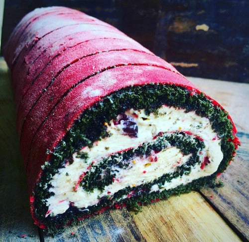 Delicious Matcha Cherry Swiss Roll with Sour Cherry Mustard Jam blended with Mascapone Coffee Cream