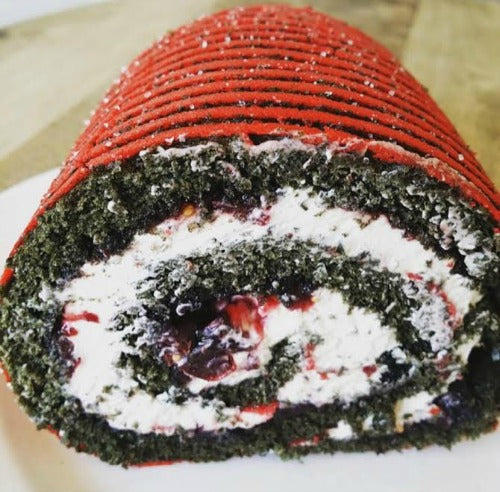 Matcha Sour Cherry Mascapone Swiss Roll with Sour Cherry Mustard Jam and Coffee Mascapone Cream with a subtle hint of mint