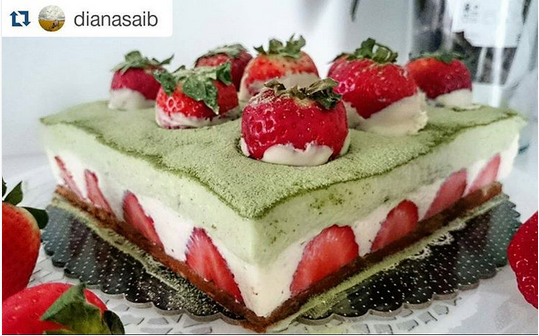Simple recipe of matcha chocolate mousse cake with matcha genoise and strawberry for the delightful dinner