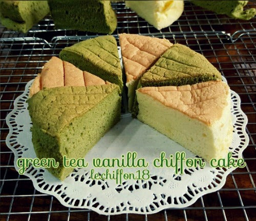 Freshly baked tender, rich matcha chiffon cake and vanilla chiffon cake are the perfect dessert idea for Thanksgiving at your family gatherings
