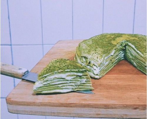 Fluffy rich double matcha mille crepe cake with creamy mildly sweet matcha green tea custard cream.