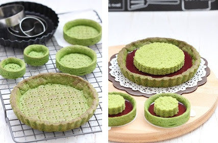 How-to-make Matcha Tarts filled with strawberry jelly and stuffed with green tea sponge cake