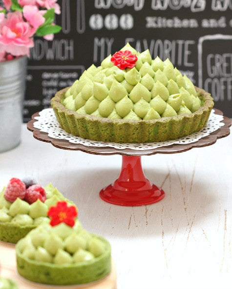 Delicious Matcha Tarts with sweet homemade Strawberry Jam Filling and topped with most fluffy mascarpone cream