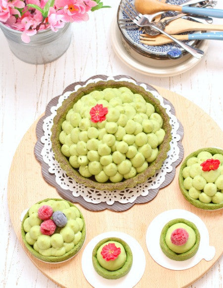 Soft & Fluffy Matcha Tea Strawberry Jelly Mascarpone Tarts