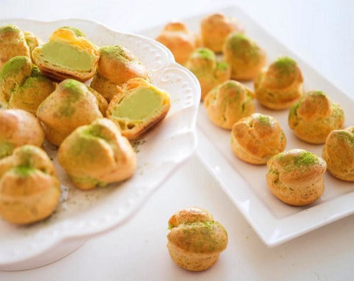 Pate au Choux filled with Matcha green tea Rum filling custard is perfect for parties and special occasions