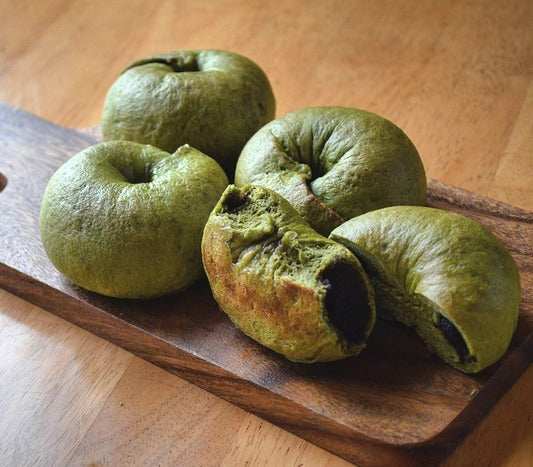 Homemade earthy matcha bagels filled with chocolate cake bring the best of both worlds for any matcha and chocolate lovers