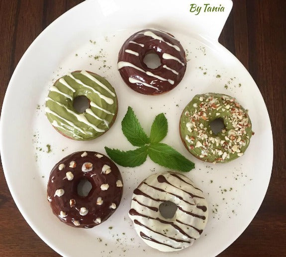 Matcha Chocolate Glazed Donuts (vegan) with matcha chocolate glaze, white chocolate glaze, and dark chocolate glaze