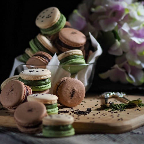 Italian-styled matcha macarons recipe with rich matcha white chocolate filling
