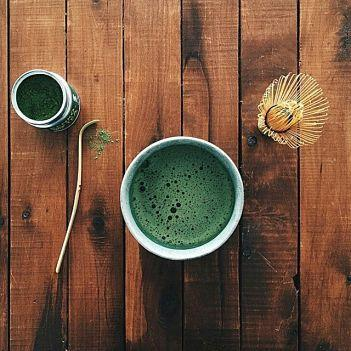 Matcha tea is prepared by matcha powder mixed with hot water