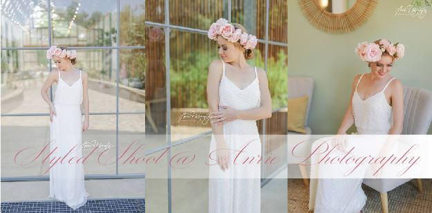 Venue: The Greenhouse Café Models: Melindie Michel & Gizzelle Mandy Uys Silk Flower Crowns and Flower Curtain: Bride In Bloom Cakes: Bev L Sinden Vandyk Sinden's Wedding Cakes & Larissa Zeelie A Touch of Madeleine Dresses:ChiqWawa Bridal Couture