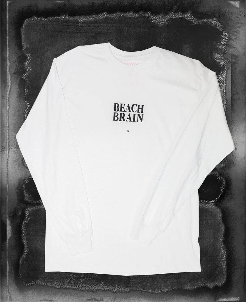 Beach Brain LS Tee White