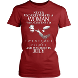 Never Underestimate A Woman Who Listens To Twenty One Pilots And Was Born In July T-shirt - Vietees Shop Online