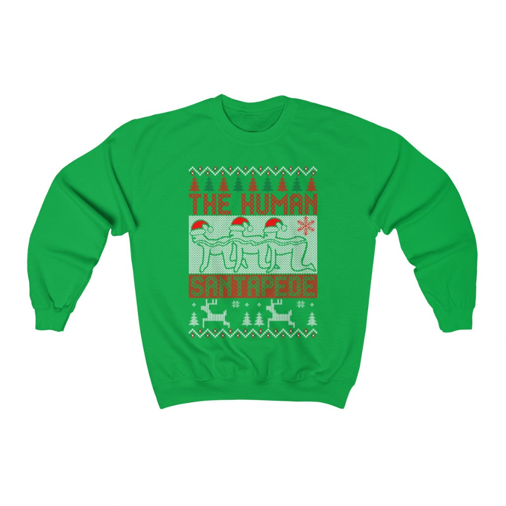 the human santapede ugly christmas sweatshirt xmas
