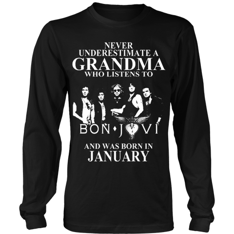 Never Underestimate A Grandma Who Listens To Bon Jovi And Was Born In January T-shirt - Vietees Shop Online