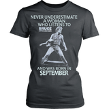 Never Underestimate a Woman who listens to Bruce Springsteen and was born in September Women's T-shirt - Vietees Shop Online
